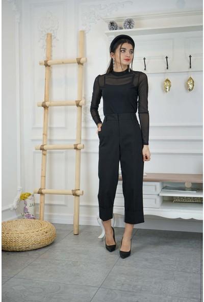Bade Butik Siyah Kıvrık Paça Pantolon