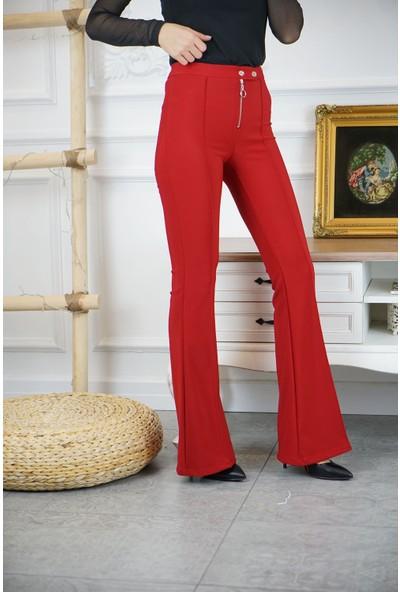 Bade Butik Kırmızı Fermuar Detaylı Likralı İspanyol Paça Pantolon