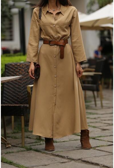 Bade Butik Safari Düğmeli Vintage Elbise