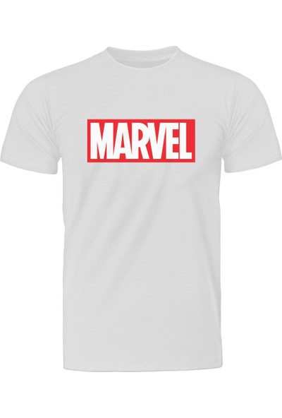 Diagon Yolu Marvel Logo Beyaz T-Shirt