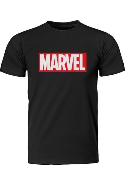Diagon Yolu Marvel Logo Siyah T-Shirt