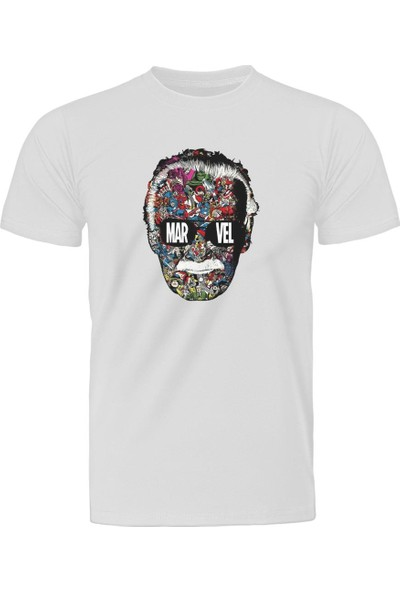 Diagon Yolu Marvel Stan Lee Face Beyaz T-Shirt