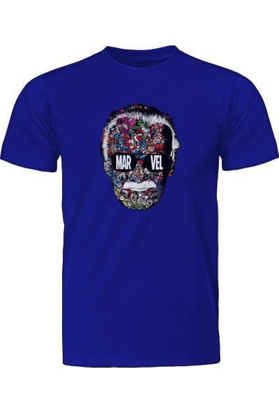 Diagon Yolu Marvel Stan Lee Face Mavi T-Shirt