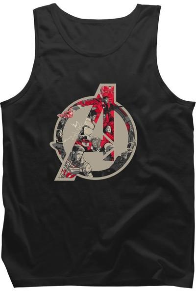 Diagon Yolu Marvel Avengers Comic Logo Siyah Askılı T-Shirt Atlet