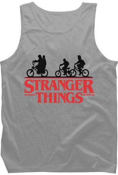Diagon Yolu Stranger Things Bicycle Gri Askılı T-Shirt Atlet
