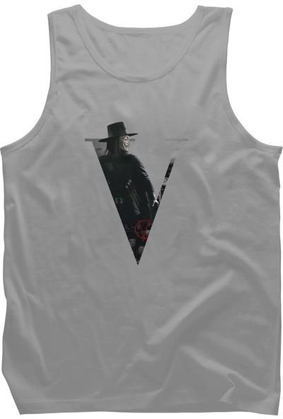 Diagon Yolu V For Vendetta V Gri Askılı T-Shirt Atlet
