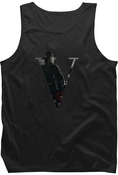 Diagon Yolu V For Vendetta V Siyah Askılı T-Shirt Atlet
