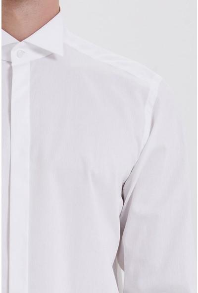 Hatemoğlu Beyaz Desenli Regular Gömlek