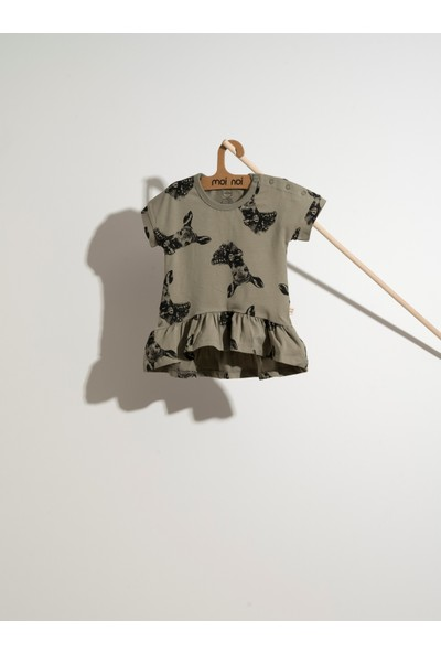 Moi Noi Geyik Desen Fırfırlı Elbise