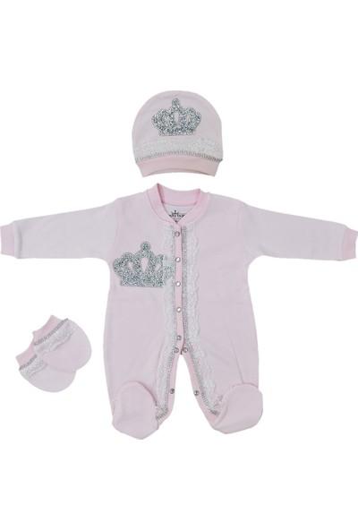 Eda Baby Dantelli Taşlı Bebek Tulum Seti 1057