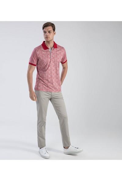 Çift Geyik Karaca Erkek Slim Fit Süprem T Shirt Bordo