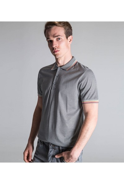 Çift Geyik Karaca Erkek Slim Fit Süprem T Shirt Antrasit