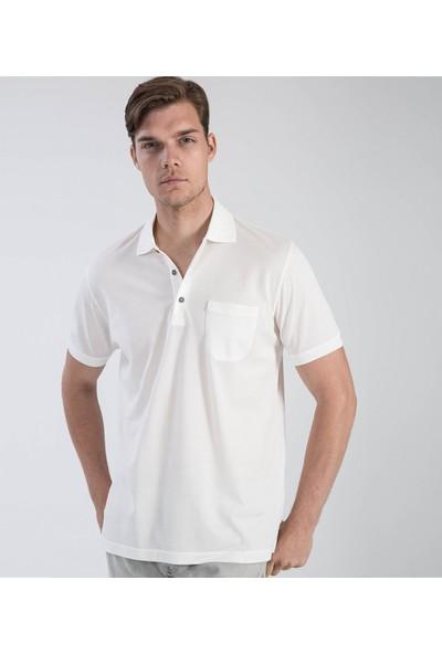 Çift Geyik Karaca Erkek Regular Fit Süprem T Shirt Beyaz