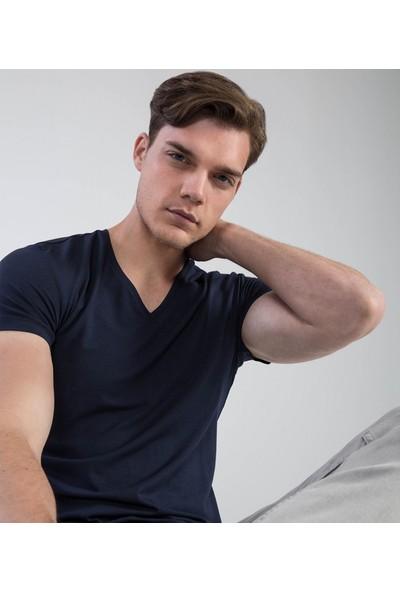 Çift Geyik Karaca Erkek Slim Fit Pike T Shirt Lacivert