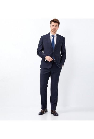 Çift Geyik Karaca Erkek Slim Fit 4 Drop Klasik Takım Elbise Lacivert