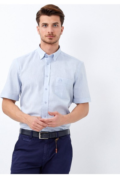 Çift Geyik Karaca Erkek Regular Fit Casual Gömlek A Mavi