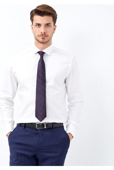 Çift Geyik Karaca Erkek Slim Fit Klasik Gömlek Beyaz
