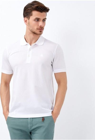 Çift Geyik Karaca Erkek Slim Fit T Shirt Beyaz