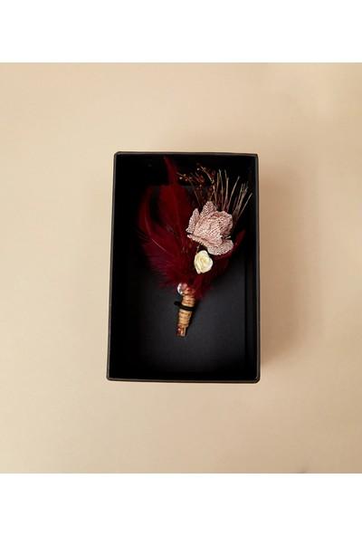 Çift Geyik Karaca Erkek Seremoni Yaka Çiçeği Bordo