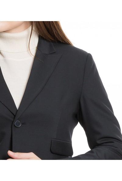 Çift Geyik Karaca Kadın Ceket Siyah