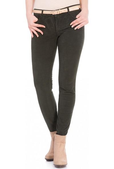 Çift Geyik Karaca Kadın Klasik Pantolon Yeşil