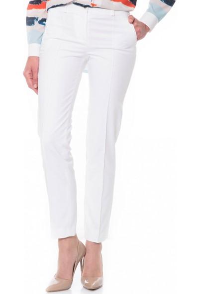 Çift Geyik Karaca Kadın Klasik Pantolon Beyaz