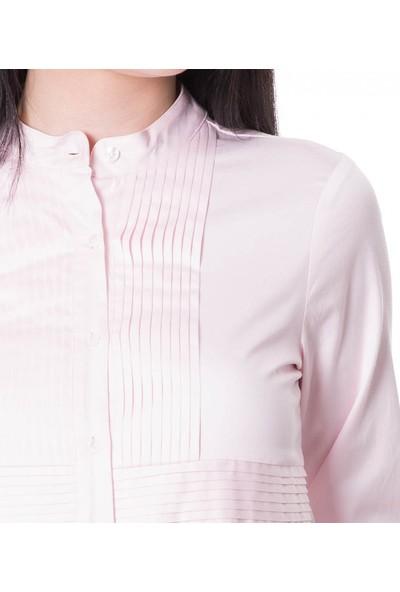 Çift Geyik Karaca Kadın Klasik Gömlek A Pembe