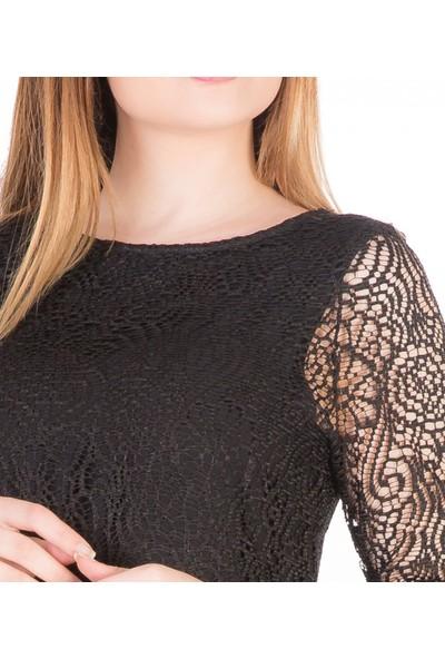 Çift Geyik Karaca Kadın Casual Elbise Siyah