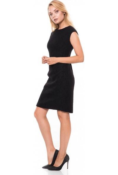 Çift Geyik Karaca Kadın Klasik Elbise Siyah