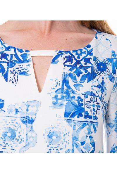 Çift Geyik Karaca Kadın Klasik Elbise Mavi