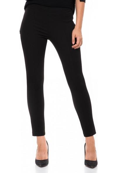 Çift Geyik Karaca Kadın Klasik Pantolon Siyah