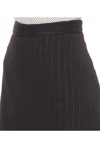 Çift Geyik Karaca Kadın Casual Etek Siyah
