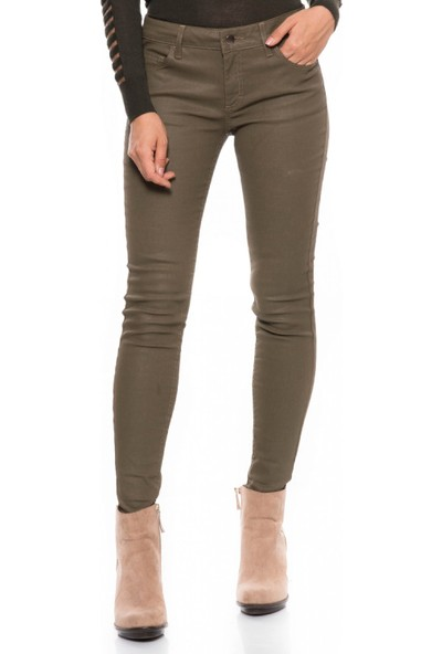 Çift Geyik Karaca Kadın Jeans Haki