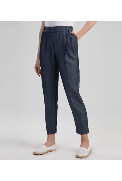 Çift Geyik Karaca Kadın Klasik Pantolon Mavi