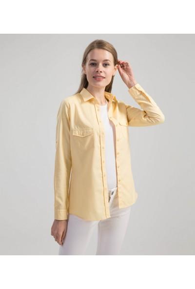 Çift Geyik Karaca Kadın Casual Gömlek Sarı