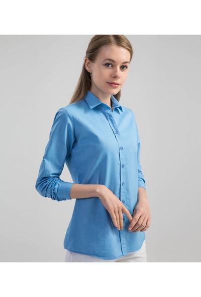 Çift Geyik Karaca Kadın Casual Gömlek Mavi