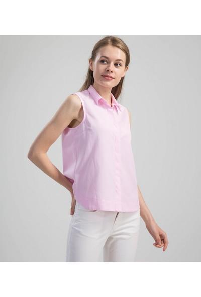 Çift Geyik Karaca Kadın Casual Gömlek Pembe