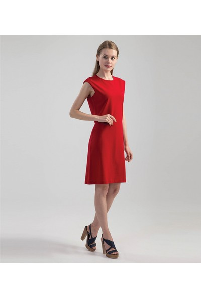 Çift Geyik Karaca Kadın Casual Elbise Kırmızı