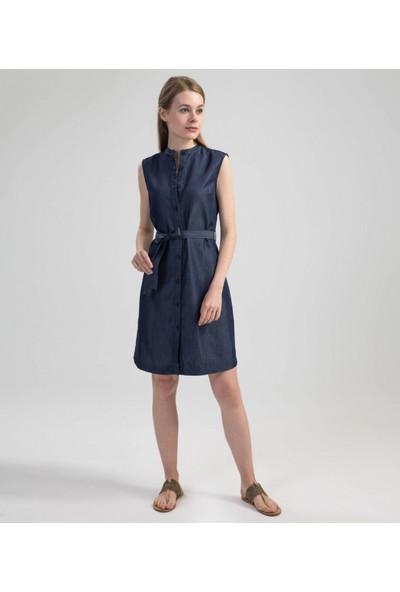Çift Geyik Karaca Kadın Casual Elbise Lacivert