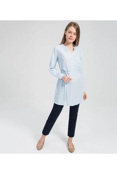 Çift Geyik Karaca Kadın Bluz Mavi