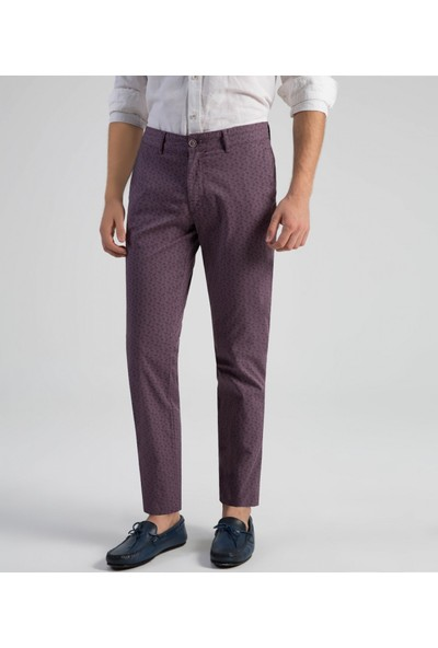Çift Geyik Karaca Toss Erkek Slim Fit 6 Drop Casual Pantolon Lila