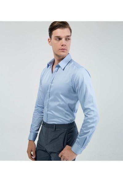Çift Geyik Karaca Toss Erkek Extra Slim Fit Klasik Gömlek A Mavi