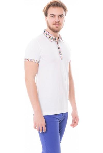 Çift Geyik Karaca Toss Erkek Extra Slim Fit Pike T Shirt Beyaz