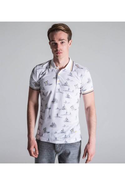 Çift Geyik Karaca Erkek Extra Slim Fit Pike T Shirt Beyaz