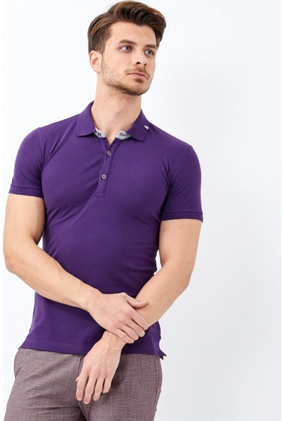 Çift Geyik Karaca Toss Erkek Extra Slim Fit T Shirt Mor