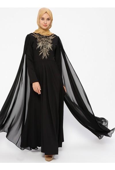 Şifon Detaylı Abiye Elbise - Siyah - Bürün