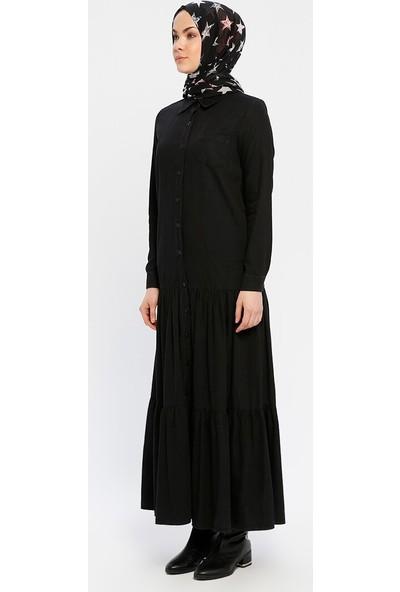Boydan Düğmeli Kot Elbise - Siyah - Neways
