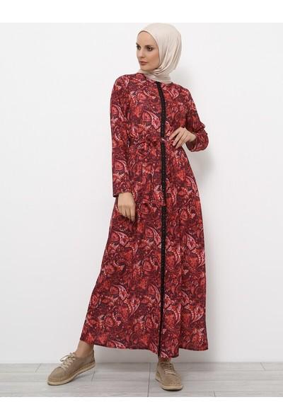 Desenli Elbise - Mürdüm - Refka