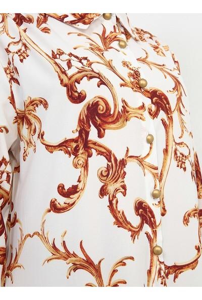 Düğmeli Elbise - Beyaz - Refka