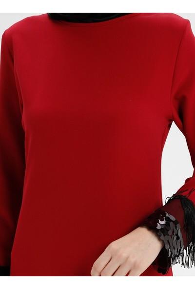 Payet Detaylı Elbise - Kırmızı - Bürün